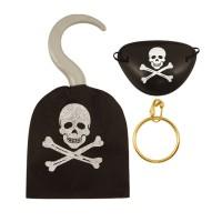 Piraten-Set mit Haken, Augenklappe und Ohrring