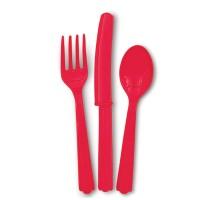 Rotes Plastikbesteck
