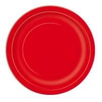 Roter Einwegteller aus Pappe