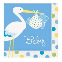 Papierservietten in Rosa mit Storch und Baby