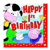 Servietten mit 1. Geburtstag-Aufschrift und Tiermotiven