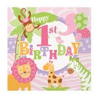 Papier-Servietten für den 1. Geburtstag mit Safari-Tieren in Rosa