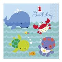 Papier-Servietten für 1. Geburtstag mit Unterwasser-Motiven