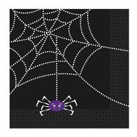 Schwarze Papierserviette mit Spinnen-Motiv