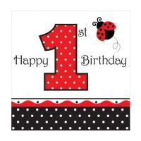 1. Geburtstag-Servietten mit Marienkäfer