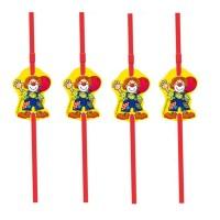 Kindergeburtstag-Strohhalme mit bunten Figuren