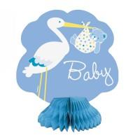 Tischaufsteller in Blau mit Storch und Baby