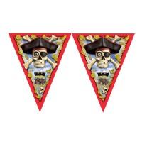 Piratenparty-Wimpelkette mit Totenkopf