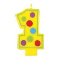 Zahlenkerze 1 in Gelb mit Punkten