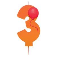 Orangefarbene Drei als Kerze mit Ballon-Motiv