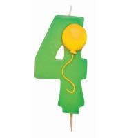 Grüne Vier als Geburtstagskerze mit Ballon-Motiv