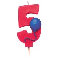 Rote Fünf als Geburtstagskerze mit Ballon-Motiv