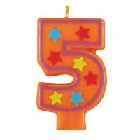 Zahlenkerze 5 in Orange mit Sternen