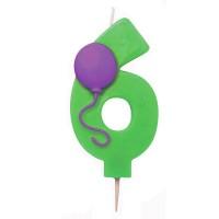Grüne Sechs als Kerze mit Ballon-Motiv