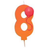 Orangefarbene Acht als Kerze mit Ballon-Motiv