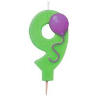 Grüne Kerze in Form einer Neun mit Ballon-Motiv