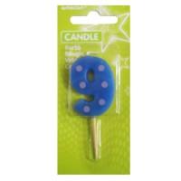 Blaue Kerze in Form einer Neun