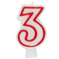 Zahl 3 als Geburtstagskerze