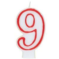Zahl 9 als Geburtstagskerze