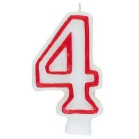 Zahl 4 als Geburtstagskerze