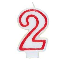 Zahl 2 als Geburtstags-Kerze