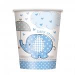 Pappbecher mit blauem Elefanten