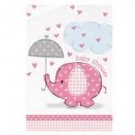 Tischdecke mit rosafarbenem Elefanten