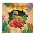 Dino-Party-Einladung mit Dinosauriern
