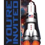 Kindergeburtstag-Einladung mit Mond-Rakete