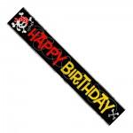Folienbanner mit Totenkopf und Happy Birthday Aufschrift