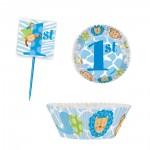 Muffinförmchen und Muffinpicker für 1. Geburtstag in Blau