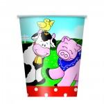 Pappbecher mit Bauernhof-Tieren