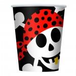 Pappbecher Ahoy mit Totenkopf-Motiv