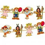 Kinder-Partykette mit bunten Figuren