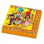 Kindergeburtstag-Servietten mit bunten Figuren