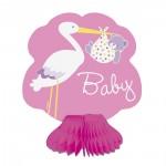 Tischaufsteller in Rosa mit Baby und Storch