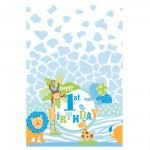 Kunststoff-Tischdecke für 1. Geburtstag mit Safari-Tieren in Blau