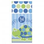Tischdecke mit Schildkröte und 1. Geburtstag-Aufschrift