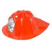 Roter Spielzeug-Feuerwehrhelm aus Plastik