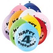 Bunte Partyballons für den vierten Geburtstag