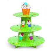 Grüner Muffinständer mit Muffin-Motiven