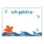 Namenssticker für Kindergeburtstag mit Unterwasser-Motiv