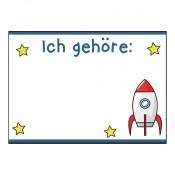 Namenssticker für Kindergeburtstag mit Weltraum-Motiv