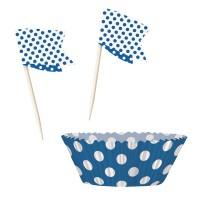 Blaue Muffinförmchen & Picker mit Punkten