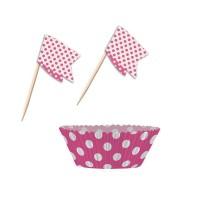 Pinkfarbene Muffinförmchen U0026 Picker Mit Punkten